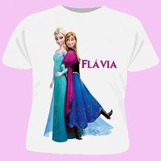 Camiseta Frozen <br>cor branca <br>100% Poliéster <br>Tamanhos 2 a 16 anos <br>Tamanho da impressão folha A4 <br>Nossas camisetas são personalizadas com transfer sublimático, não desbota,não solta , pode ser passado á ferro. <br>Faço com o seu nome.