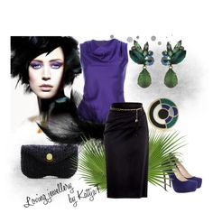 """Mysterious violet with green earrings and ring"" by kattjaf on Polyvore"