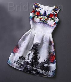 Short Retro Printing Patterns Women's Clothing Sleeveless Casual Dress YHD3-6 Size S M L XL on Luulla
