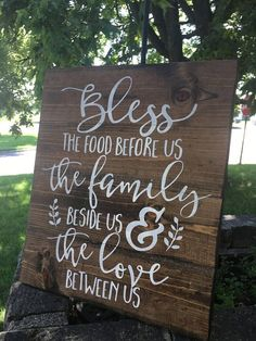 Bless The Food Before Us Wood Sign-Kitchen Sign-Farmhouse Sign-Rustic Wood Sign-Pallet Sign-Stained Wood Sign-Kitchen Decor-Home Decor #ad
