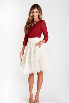 shift lace skirt for classic look