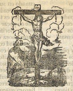 Xilografía en cabecera de la segunda parte de la obra de Jesucristo crucificado.