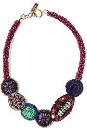EtroGold-plated, bead and crystal necklace