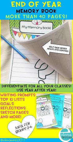 A memory book with lots of options so you can easily use it year after year, and never get bored!  Your students will love the fun and engaging activities! Writing prompts, top 10 lists, sketch pages, notes, signatures, favorites, all about me, self portrait and so much more!