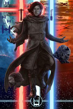 Cool Star Wars Art: Kylo Ren & Rey – Awakened by Michael K. Matsumoto. See them here
