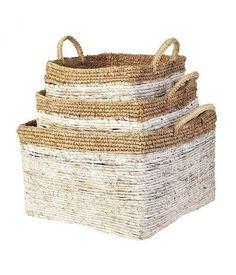 Buy Alessandra Basket Set, Square, White/Nature at RoyalDesign Plastic Organizer Box, Wooden Organizer, Plastic Box Storage, Jar Storage, White Storage Baskets, Under Bed Storage Boxes, Wooden Storage Boxes, Plastic Baskets, Paper Basket