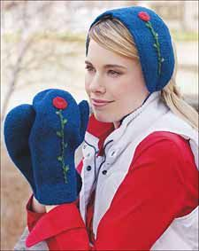 I wonder if I could make this headband and mittens from a recycled sweater and then embroider it?