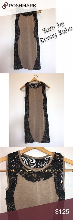 """Torn by Ronny Kobo Lace Detail Dress - R$250 Torn by Ronny Kobo brown dress with black lace detailing along top & sides. Excellent used condition. Material: 80% cotton, 20% polyester. Lots of stretch. Measurements: bust 14"""", waist 14"""", length 34"""". Size Small. Retail $250. Torn by Ronny Kobo Dresses Mini"""