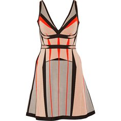 Hervé Léger Cameron bandage mini dress ($645) ❤ liked on Polyvore featuring dresses, neutral, herve leger dress, mini dress, fitted dresses, brown fitted dress and loose dresses