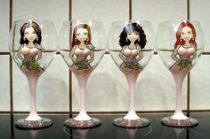 Bridesmaid hand painted, made to order wineglasses embellished with swarovski crystals. www.maryellenbazil.com  Maryellenbazil.com