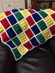 Lego Block Afghan Square ~ free pattern