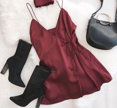 Burgundy slip silk dress