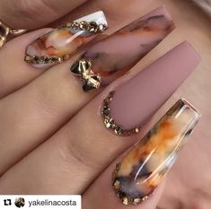 Try out our most popular marbling ink product at APRESNAIL. Shop our entire Artisté Collection… : Try out our most popular marbling ink product at APRESNAIL. Shop our entire Artisté Collection… Fall Nail Designs, Acrylic Nail Designs, Dope Nails, Swag Nails, Bling Nails, Best Acrylic Nails, Pretty Nail Art, Autumn Nails, Dream Nails