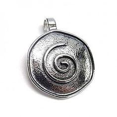 Colgante de plata de primera ley con forma de espiral con efecto oxy de 2 cm de diámetro