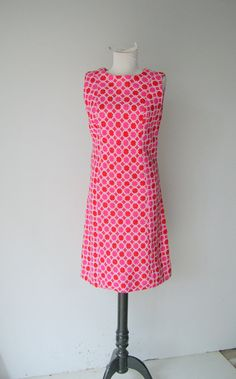 Vintage Red and Pink Mod Dress By Vogue Couturier by hipandvintage