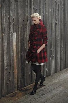 I adore this - tartan ruffle coat paired with B striped skirt and black tights