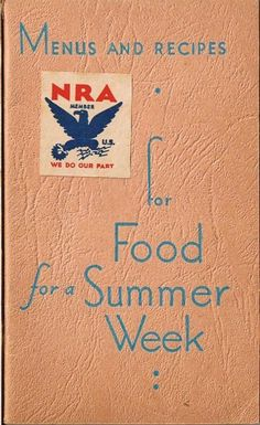 Cook Book 1933 NRA Menus & Recipes Food for a by TheIDconnection, $25.00