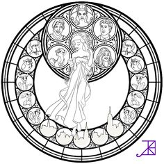Kleurplaat Giselle Stained Glass -line art- by Akili-Amethyst.deviantart.com on @DeviantArt