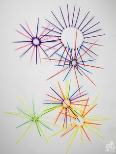 Firework Art - Zip/Cable tie firework sculptures.  This firework craft is perfect for kids and improving their fine motor skills.