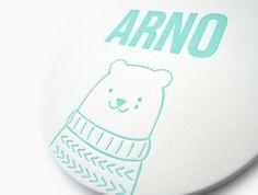 Avondster: letterpress geboortekaart / afscheidskaart met ijsbeer voor Arno.  Avondster: letterpress birth announcement / farewell card with ice bear for Arno.