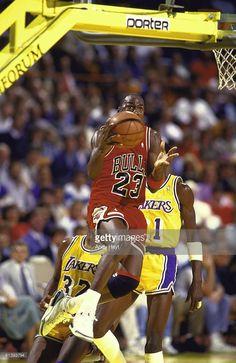 Chicago Bulls Michael Jordan (23) in action, layup vs Los Angeles Lakers, Inglewood, CA 2/4/1988