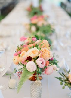 pink peach yellow and green centrepieces