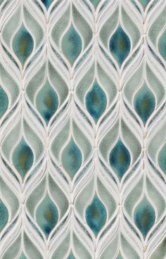 Plumage Mosaic by Encore Ceramics. Shown in Milk gloss, Calcutta marble and Stratus matte. Available at Mediterranean Tile in Fairfield and Bernardsville, NJ. Tile Around Fireplace, Turquoise Kitchen Decor, Mediterranean Tile, Decorative Tile, Tile Design, Home Remodeling, Decoration, New Homes, House Design