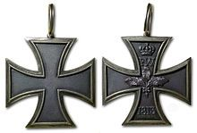 1813 Grand Cross of the Iron Cross was a decoration intended for victorious generals of the Prussian Army and its allies. It was the highest class of the Iron Cross. Along with the Iron Cross 1st and 2nd Class, the Grand Cross was founded on March 10, 1813, during the Napoleonic Wars. It was renewed in 1870 for the Franco-Prussian War and again in 1914 for World War I. In 1939, when Adolf Hitler renewed the Iron Cross as a German decoration, he also renewed the Grand Cross.