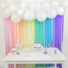 Pastel Rainbow Balloon and Streamer Backdrop Kit This stunning backdrop kit will look fantastic behind your gift or buffet table or just as a little extra decoration for any event or venue. Rainbow First Birthday, Unicorn Birthday Parties, First Birthday Parties, First Birthdays, Rainbow Theme Baby Shower, 5th Birthday, Birthday Ideas, Birthday Backdrop, Birthday Party Decorations