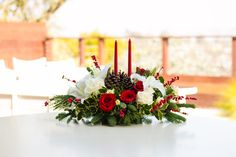 Christmas Wishes Centerpiece Bouquet - Teleflora Christmas Flower Arrangements, Christmas Table Centerpieces, Christmas Flowers, Candle Centerpieces, Christmas Candles, Floral Centerpieces, Christmas Wishes, Christmas Wreaths, Christmas Decorations
