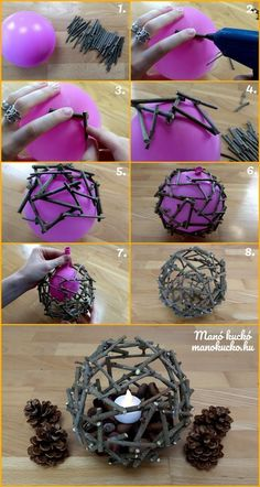 Őszi dekoráció - Hangulatos gömb faágakból - Manó kuckó- in 2020 Twig Crafts, Diy Home Crafts, Nature Crafts, Diy Arts And Crafts, Creative Crafts, Fun Crafts, Crafts For Kids, Craft Ideas For Adults, Tree Branch Crafts