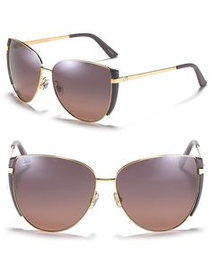 Gucci Round Oversized Aviator Sunglasses with Purple Trim