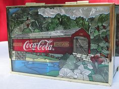 1997 Coca Cola Plastic Hinged Box Footed Mirror Bottom Faux Stained Glass Barn Tunnel Scene