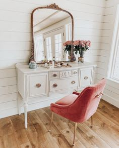 I love this vanity setup. I still sit at a vanity for my makeup application. This is so feminie and chic.