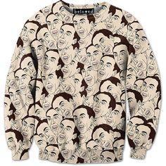 Cage Sweatshirt $79 http://belovedshirts.com/products/nicolas-cage-sweatshirt-1