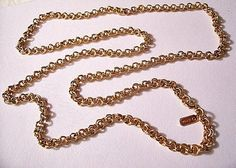 Monet Cable Necklace Gold Tone Vintage Link Chain Round Double Rings