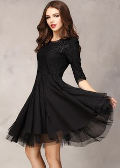 Shop Black Half Sleeve Lace Bead Chiffon Dress online. Sheinside offers Black Half Sleeve Lace Bead Chiffon Dress & more to fit your fashionable needs. Free Shipping Worldwide!