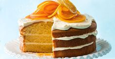 This layer cake is perfect with a cup of tea on a Saturday morning. Cream cheese and yoghurt, plus orange blossom, is a heavenly combination.