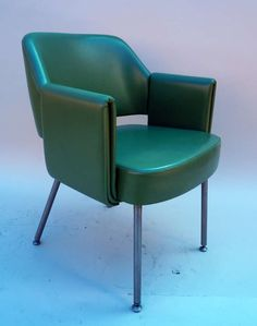 Joseph-André Motte; Chromed Metal and Leatherette Armchair, 1960s.