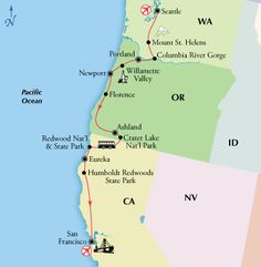 10 Day Pacific Northwest with Columbia River Gorge & Seattle - ◦2 nights Seattle ◦2 nights Portland ◦1 night Newport ◦2 nights Ashland ◦1 night Eureka ◦1 night San Francisco.  This moderately active trip covers a fair amount of ground each day. Expect from three to four hours walking every touring day. The pace is moderate, however you will encounter some uneven surfaces, stairs, steps and significant slopes.