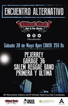 "Ritual Rock Bar presenta: ""Encuentro Alternativo"" http://crestametalica.com/events/ritual-rock-bar-presenta-encuentro-alternativo/ vía @crestametalica"