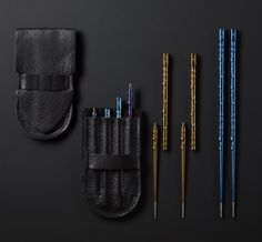 TiSushi Sticks - precision machined titanium chopsticks by Steven Kelly with portable 2pc threaded construction.