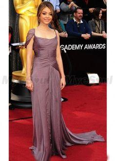 7682e582e5c One shoulder Strap Sleeveless Sweep Chiffon Prom Dress Evening Dress  Celebrity Dress Premiação Do Oscar
