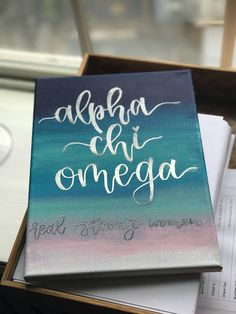 Alpha Chi Omega  Acrylic Canvas  with embossed writing in