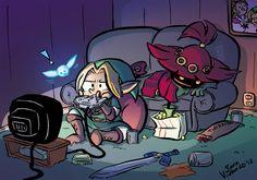 Link And Skull kid qui jouent à un jeu .