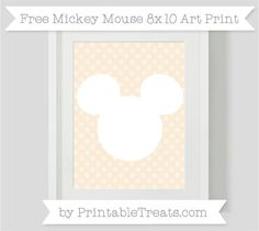 Free Antique White Dotted Pattern Mickey Mouse 8x10 Art Print