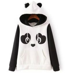 Women Panda Fleece Pullover Hoodie Sweatshirts Jumper Hooded Sweater Coat Top