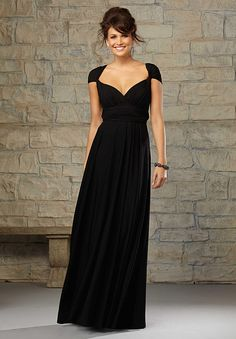 Cap Sleeve Chiffon Black Dress | fashjourney.com