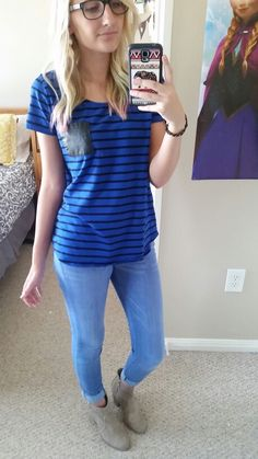 #ootd Light blue skinnies. Ankle boots. Striped shirt with a leather frocket