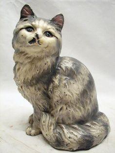 Vintage Cast Iron Hubley Cat Door Stop Figurine Painted (Lancaster PA)